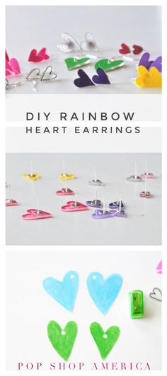 Here is an inexpensive DIY that is perfect for all your best girlfriends! These heart earrings can be made with broken hearts or in any color of the rainbow. Here are your supplies: