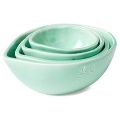 Check out this item at One Kings Lane! S/4 Assorted Measuring Cups, Aqua