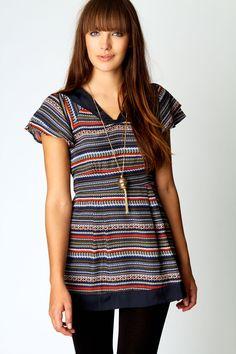 Kaylie Folk Print Woven Tunic, £10