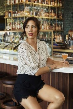 Michaela Conlin looks nice in these delicate dainty trimmed shorts. Hilary Duff, Sunset Beach, Beach Club, Beautiful Female Celebrities, Beautiful Women, Michaela Conlin, How To Make Shorts, How To Wear, Thing 1