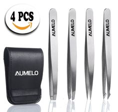 4 Tips Natural Premium Stainless Steel Tweezers Gift Set with Leather Case - Classic,Slant,Straight and Pointed Tweezers - Best for Eyebrow,Facial,Ingrown Nose Hair,Splinters (No Dyeing,NO Chemical) >>> Be sure to check out this awesome product. (Note:Amazon affiliate link)