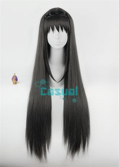 Top Quality ! Puella Magi Madoka Magica Homura Akemi 100CM Black Anime Cosplay Wig Akemi Homura Hair Wigs + Red Glasses Choose