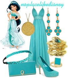 Princess Jasmine Prom Disneybound by noplacelikedisney dress / shoes / wallet / bracelet / earrings / necklace / ring / headband Princess Inspired Outfits, Disney Princess Outfits, Cute Disney Outfits, Disney Themed Outfits, Disneyland Outfits, Disney Inspired Fashion, Disney Bound Outfits, Princess Style, Disney Clothes
