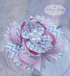 Valentine's hair bow pink and grey chevron hair by buttercupsbows, $10.99