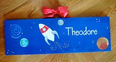 Space Rocket Boy Name Nursery Room Art  by dreamcustomartwork, $30.00