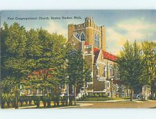 Unused Linen CHURCH SCENE Benton Harbor MI L4599