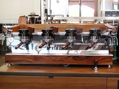 If only....La Marzocco GS-2 Ultimate dream machine = beautiful wood panelling
