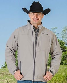 "Ariat Men's Cloudburst Gray Vernon Soft Shell Jacket | Designed for horse riders. Stretch fabric. Stain repellent.  ""gifts for cowboys"" ""gifts for men"" drysdales.com western menswear for cowboys warm comfortable outerwear fall winter cold weather outdoors snow rain sleet wind rancher ranchwear rugged coat jacket vest pullover overcoat duster hoodie"