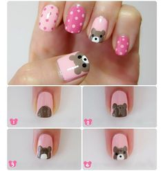 Bear and Polka Dots Nail Art Tutorial