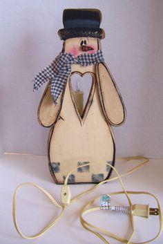 "Wooden Snowman Lamp Light 15 "" Tall Painted Folk Art Electric Switch | eBay"
