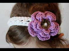 May - Free Pattern (Video) - Crochet Cross Stitch Headband and Removable Flower All Sizes - Right Handed - YouTube