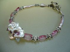 Pink Topaz Keishi Pearl Sterling Silver Wire Wrapped by perlasmil1