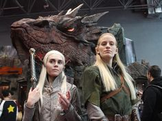 """A female Thranduil and Legolas protect passersby from """"The Hobbit"""" dragon, Smaug."""