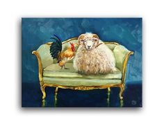 Daily Oil Painting, Sheep Ram wool Rooster Farm Animals Loveseat Chair Applegate