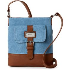 Nine West Denim & Tobacco Rocky Crossbody ($17) ❤ liked on Polyvore featuring bags, handbags, shoulder bags, brown, nine west purses, brown crossbody, nine west handbags, denim shoulder bag and nine west shoulder bag