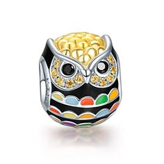 NinaQueen 925 Sterling Silver Gold Plated Owl Charms with Enamel