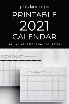 2021 monthly printable planner with a minimal calendar design to help you plan a successful year. Twelve (12) months with Sunday start, US letter size. Easy to use - just download, print