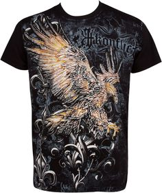 Sakkas Clutching Eagle & Fleur De Lis Metallic Silver Embossed Short Sleeve Crew Neck Cotton Mens Fashion T-Shirt: Amazon.co.uk: Clothing