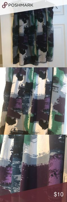 Patterned Midi Skirt Adorable purple, green, navy, black, gray, cream skirt! Half elastic waistband. Size 3x. Brand is Triste. Reposhing as is too big. Black under layer. Lightweight material. No flaws. Smoke free, cat friendly home. Skirts Midi