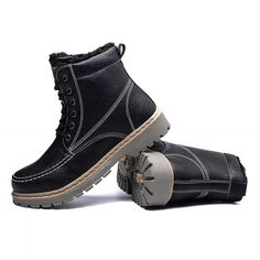 50a88f549e6 Men Outdoor Slip Resistant Warm Plush Lined Work Ankle Boots is  fashionable