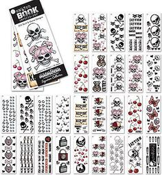 SKULL & XBONE (28) Pg SWATCHBOOK Rub-Ons scrapbooking CLOSE-OUT SALE!