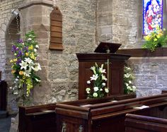 St Giles, Ludford, Easter 2011 - chancel arch and pulpit.