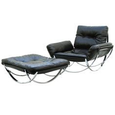 Stendig Mid-Century Modern Leather Lounge Chair and Ottoman for reading corner