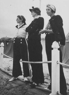 Paris vintage style 1930s street fashion casual day nautical beach resort pants shirt jacket sailor pajamas