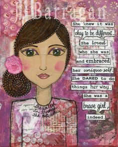 mixed media / healing / soul / art for the soul / collage / whimsical / whimsy / art journal / inspiration / inspirational art / happy art / ok to be different / self-love / embrace yourself / authentic / authenticity / unique self / daring / brave / brave girl / courage / courageous / Raspberry Beret / Prince / Carmen