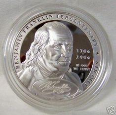 2006 US Ben Franklin Founding Father Comemorative Silver Proof Coin w// Box /& COA
