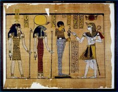 Part of the Great Harris Papyrus 1150 BC 20th Dynasty Great Papyrus Harris (sheet 43): King Ramses III is depicted in full regalia before th...