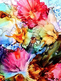 Alcohol ink painting. Abstract. Spring Bursts.