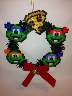 TMNT Themed Wreath perler beads by ThaliasCrafts