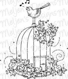 New Bird Cage Embroidery Appliques Ideas Bird Embroidery, Hand Embroidery Patterns, Embroidery Designs, Embroidery Suits, Doodle Patterns, Bird Patterns, White Bird Tattoos, Bird Artwork, Bird Crafts