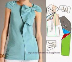 Голубая блуза с бантом (моделирование)