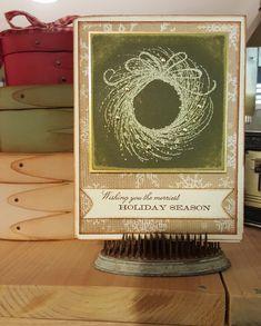 Penny Black wreath, Memory Box sentiment.