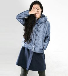 blue patchwork winter cotton coat loose leisure by ideacloth, $158.00