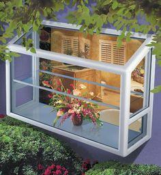 Garden Windows transform a kitchen window into a greenhouse. Porch Windows, Garden Windows, House Windows, Windows And Doors, Bay Windows, Kitchen Garden Window, Home Decor Kitchen, Kitchen Ideas, Kitchen Sink