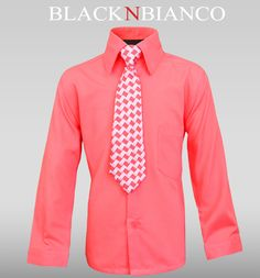 Boys Coral Melon Dress Shirt. Perfect for Rustic weddings.
