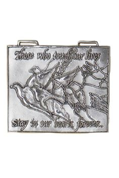 """Handcrafted pewter wall ornament, 3.5"""" x 4.25"""", with a cream color ribbon for hanging. A lovely sentiment to share with someone as a special thank you, missing you or even bereavement gift. It is engraved on the back with the same message as on the front: """"Those who touch our lives stay in our hearts forever...""""   Remembrance Wall Ornament by Circare. Home & Gifts - Home Decor - Wall Art Home & Gifts - Gifts & Things Michigan"""