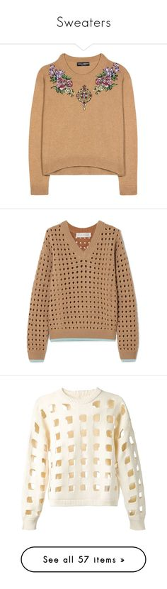 """""""Sweaters"""" by llviktoria ❤ liked on Polyvore featuring tops, sweaters, shirts, blouses, brown, knitwear, dolce gabbana sweaters, cashmere sweater, cashmere top and wool cashmere sweater"""