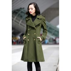 Big Lapel Wool Coat Double Breasted Jacket Military Winter Coat in Army Green - Custom Made - NC475 Big Lapel Wool Coat Double Breasted Jacket Military Winter Coat in Army Green - Custom Made - NC475 [NC475] - $188.09 : Sara Steven