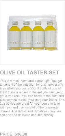 Norma Kamali olive oil taster set. Add this olive oil, Himalayan pink sea salt and lemon to air popped popcorn for a delicious snack.