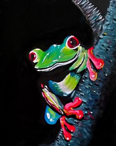 Fearless Frog: One of the ways I have found to assist in marketing my art and subsidize my income from art is to teach what we call in America Sip and Paints. Black Canvas Paintings, Cool Paintings, Animal Paintings, Acrylic Painting Basics, Rock Painting, Frog Illustration, Frog Art, Amazing Art, Art Prints