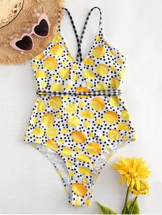 1e4524dbeca0d Cross Strap Lemon Dots High Cut Swimsuit - MULTI S Modest Bikini