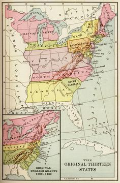 Original 13 States Map (original English grands 1606-1732 shown in the inset)