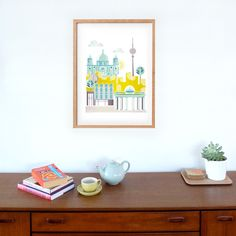 Berlin Print Art Poster, Skyline, wall decor, Cityscape Illustration, Art kids room, nursery, bedroom, Kitchen, Gift, yellow green by lauraamiss on Etsy https://www.etsy.com/listing/269083308/berlin-print-art-poster-skyline-wall