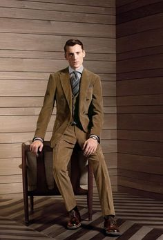 Off to the countryside, a modern man must carry on with his remarkable style. This camel velvet 3-piece suit illustrates informal elegance when paired with leather derby shoes with contrasting rubber sole. BY ZEGNA