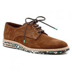 Mens Casual Shoes - Aquila Rollins Tan - Camouflage Suede Lace Up