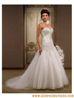 Top Sell hoog kwaliteit tule optwerper bruids Jurken Kralen Liefje riemless hals
